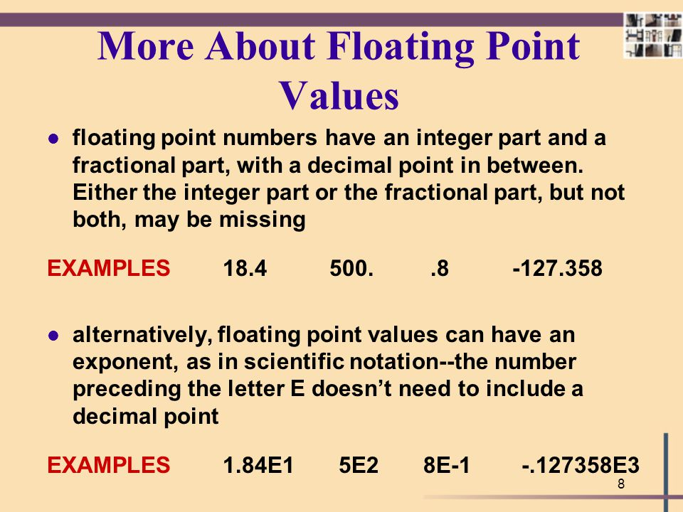 More About Floating Point Values