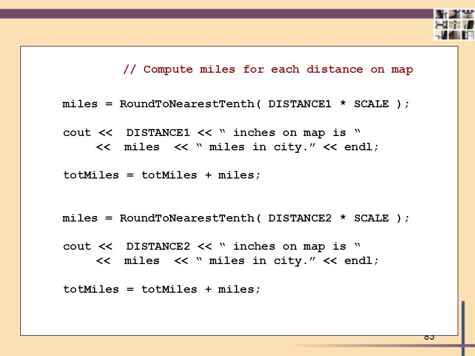 // Compute miles for each distance on map