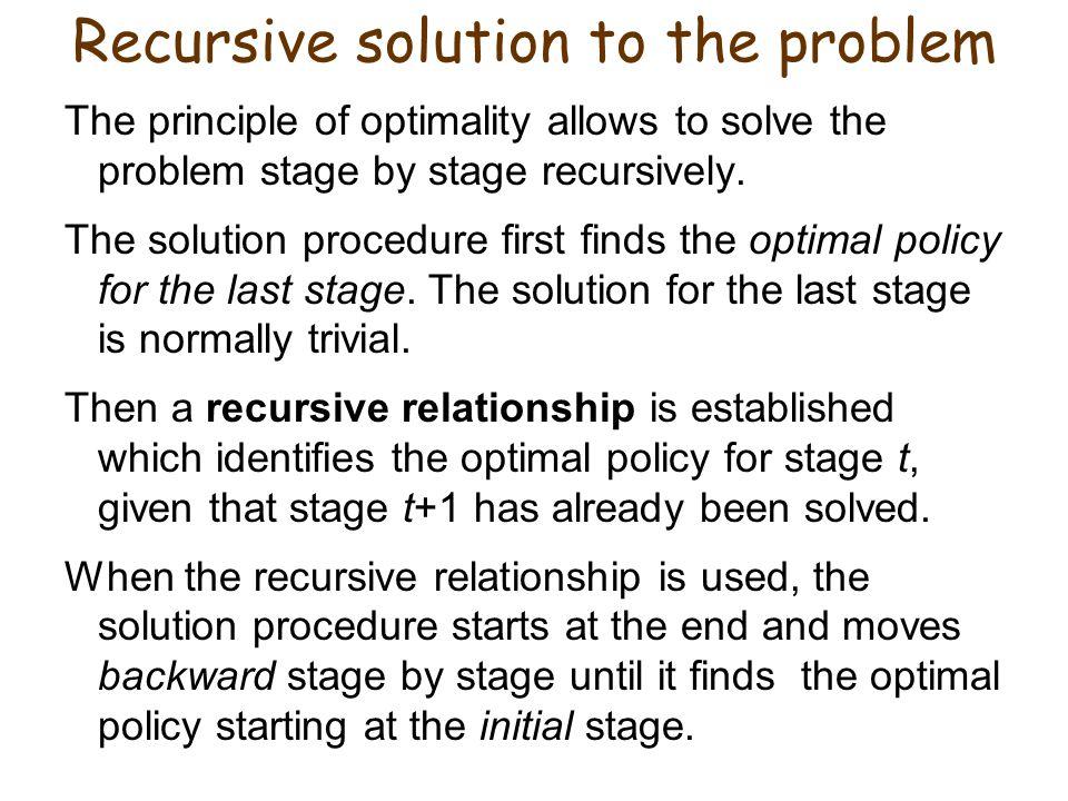 Recursive solution to the problem