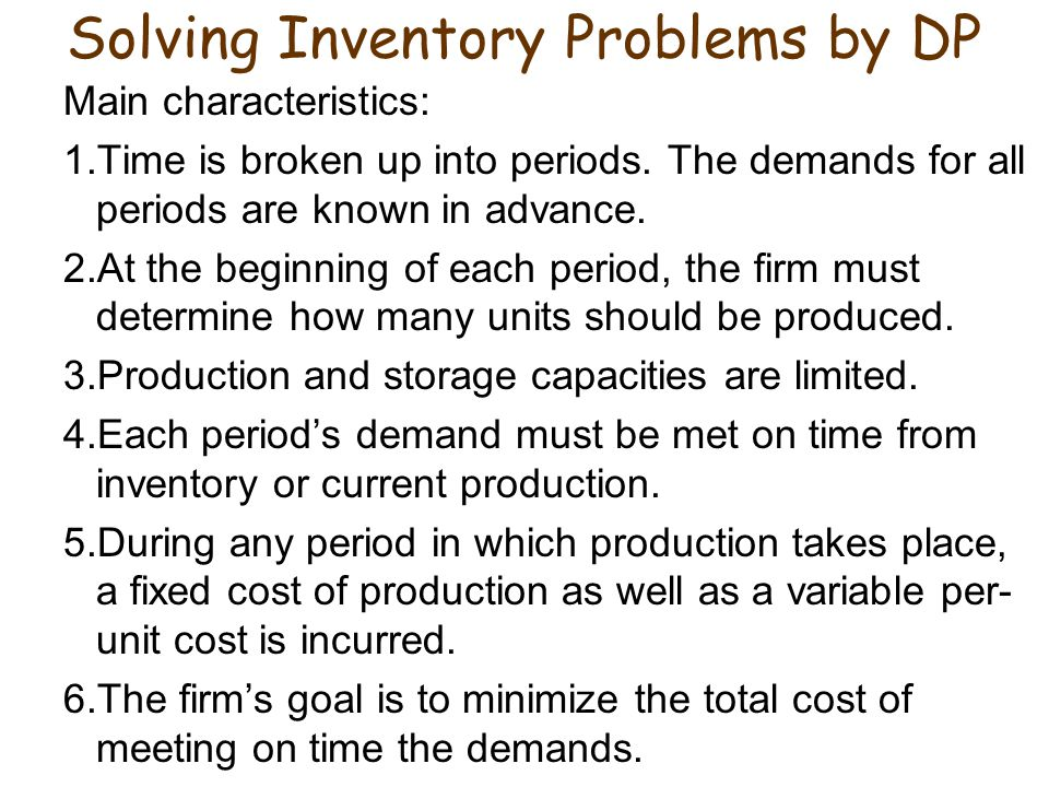 Solving Inventory Problems by DP
