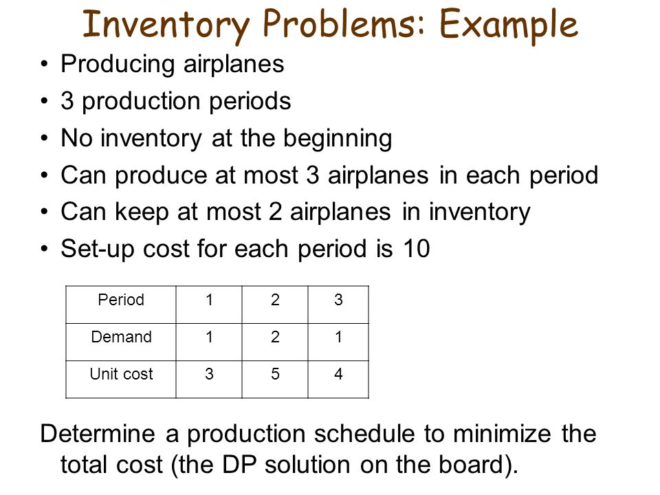 Inventory Problems: Example