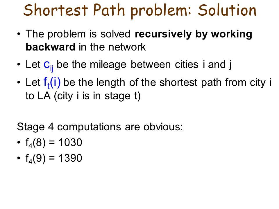 Shortest Path problem: Solution