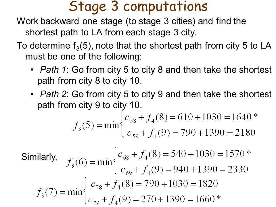 Stage 3 computations Work backward one stage (to stage 3 cities) and find the shortest path to LA from each stage 3 city.