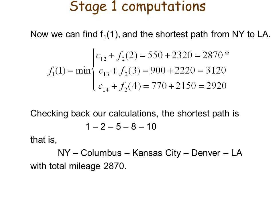 Stage 1 computations Now we can find f1(1), and the shortest path from NY to LA. Checking back our calculations, the shortest path is.