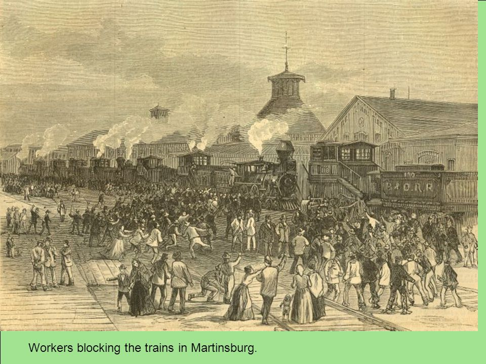 Workers blocking the trains in Martinsburg.
