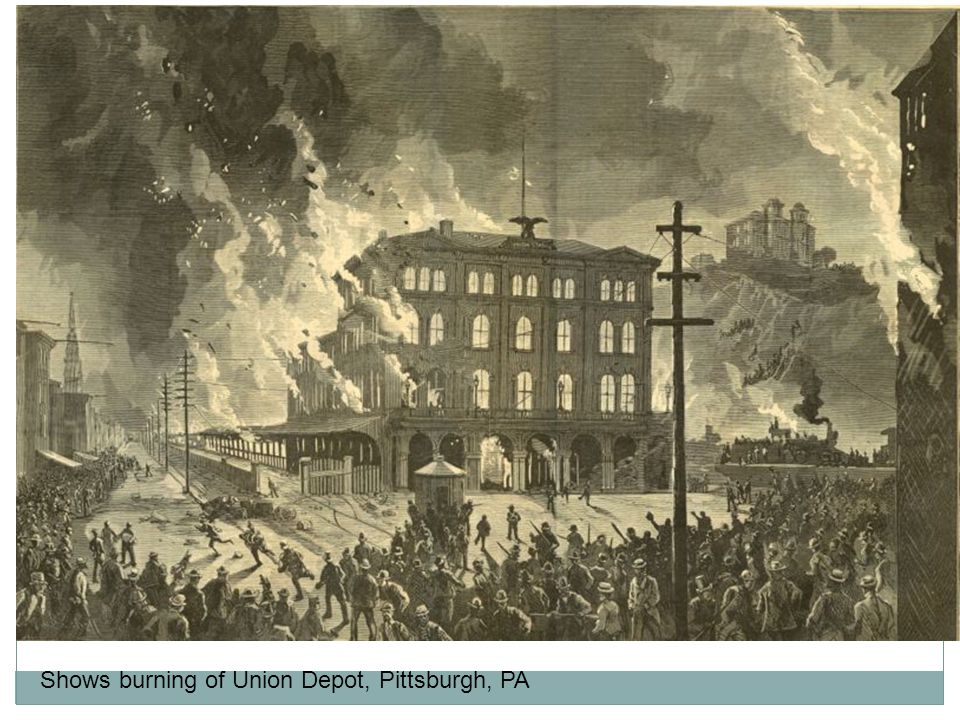 Shows burning of Union Depot, Pittsburgh, PA