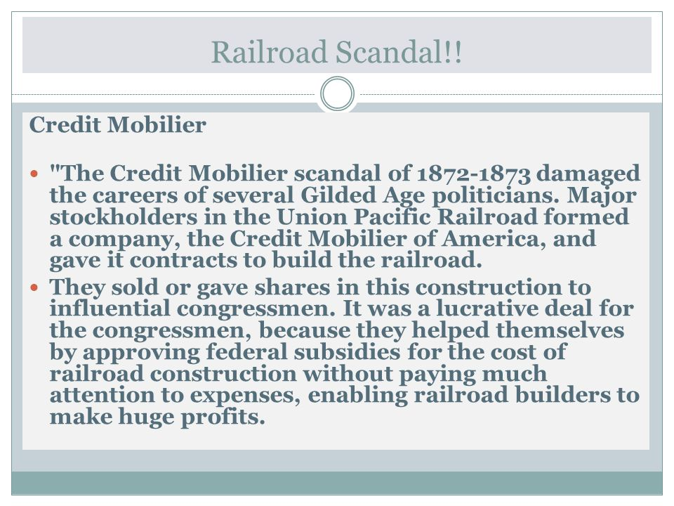 Railroad Scandal!! Credit Mobilier