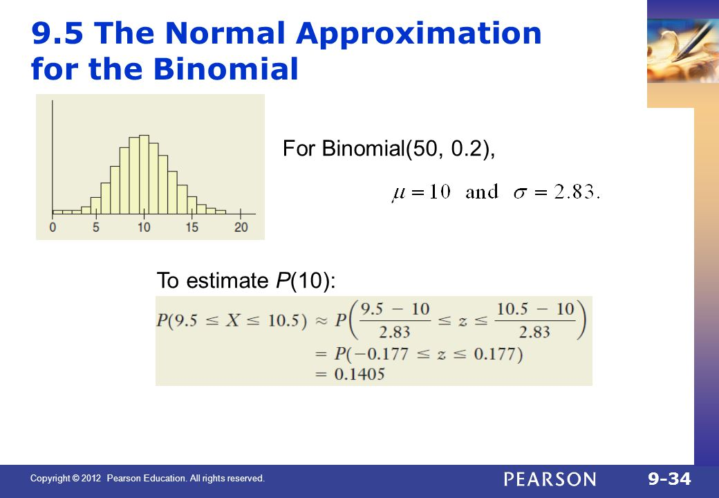 9.5 The Normal Approximation for the Binomial