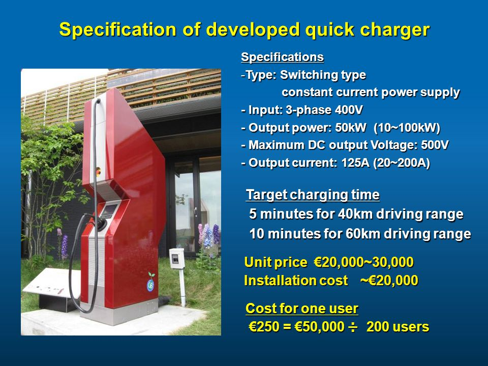 Specification of developed quick charger