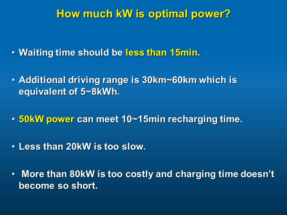 How much kW is optimal power
