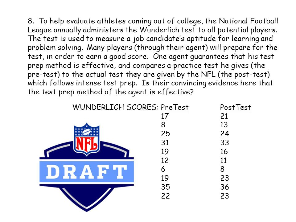 8. To help evaluate athletes coming out of college, the National Football League annually administers the Wunderlich test to all potential players. The test is used to measure a job candidate's aptitude for learning and problem solving. Many players (through their agent) will prepare for the test, in order to earn a good score. One agent guarantees that his test prep method is effective, and compares a practice test he gives (the pre-test) to the actual test they are given by the NFL (the post-test) which follows intense test prep. Is their convincing evidence here that the test prep method of the agent is effective