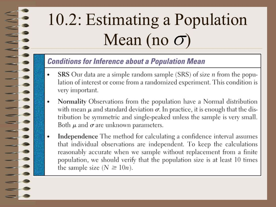 10.2: Estimating a Population Mean (no )