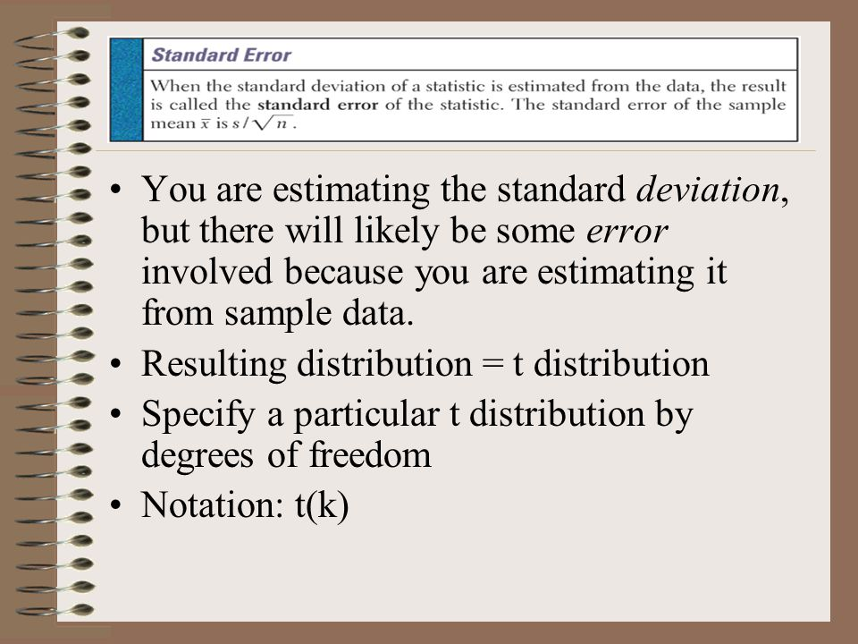 You are estimating the standard deviation, but there will likely be some error involved because you are estimating it from sample data.