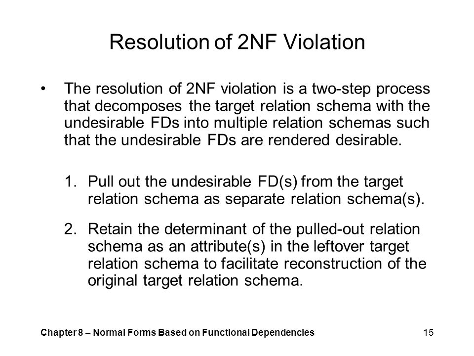Resolution of 2NF Violation