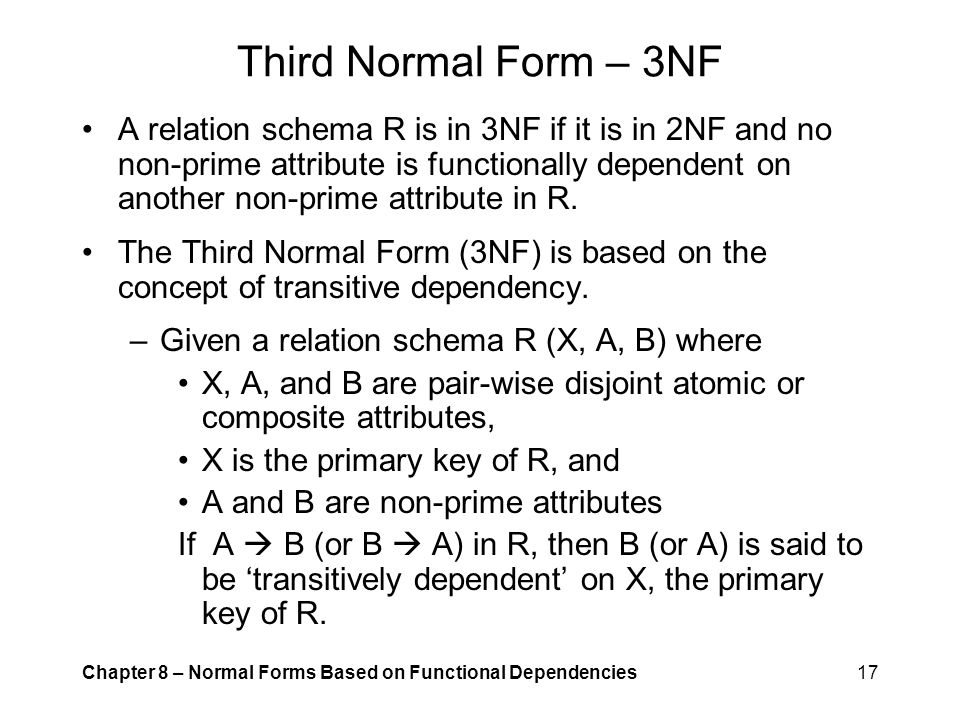 Third Normal Form – 3NF
