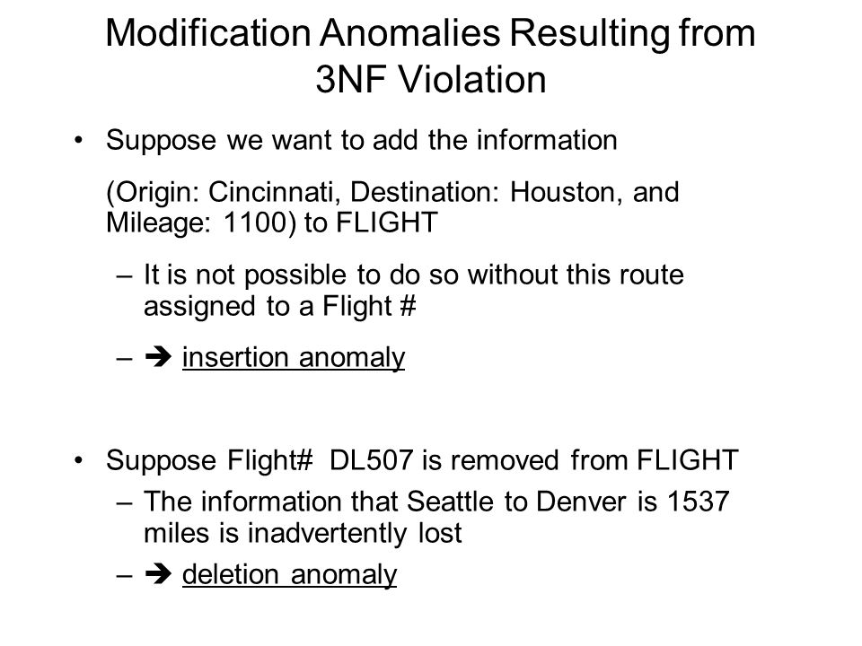 Modification Anomalies Resulting from 3NF Violation
