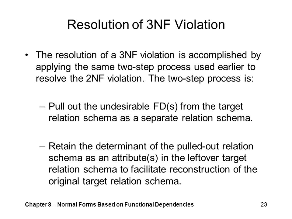 Resolution of 3NF Violation