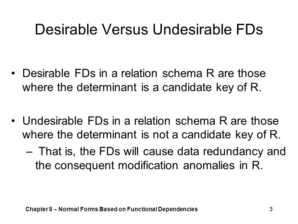 Desirable Versus Undesirable FDs