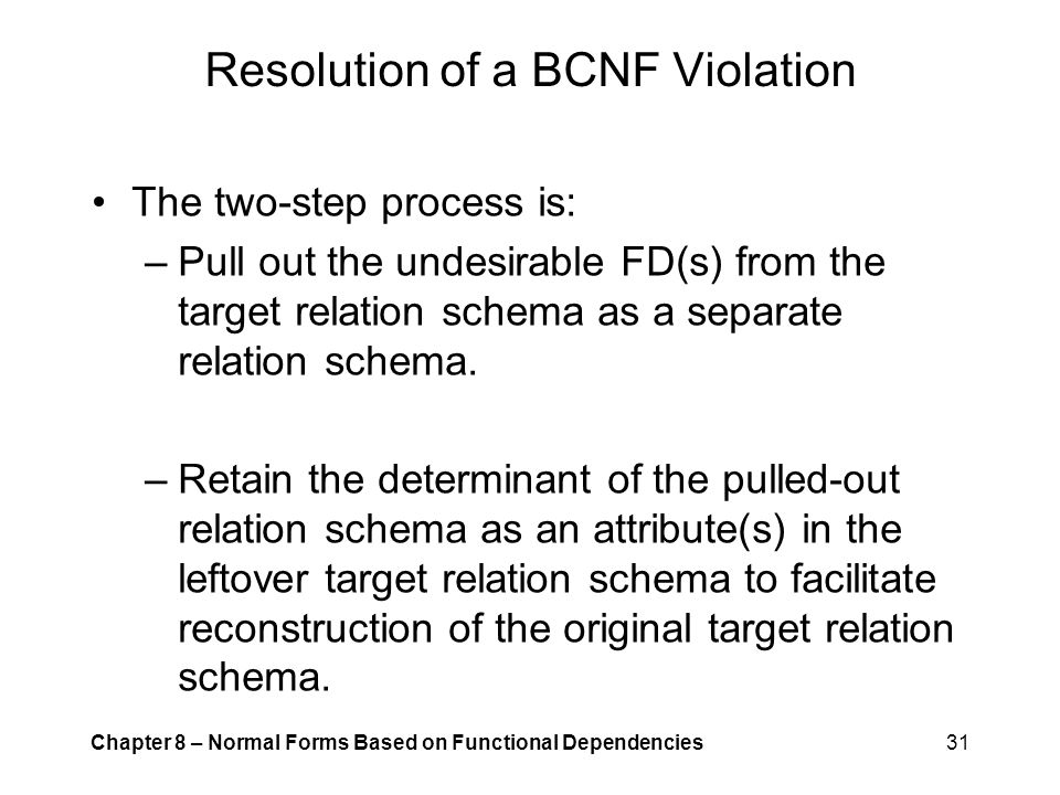 Resolution of a BCNF Violation