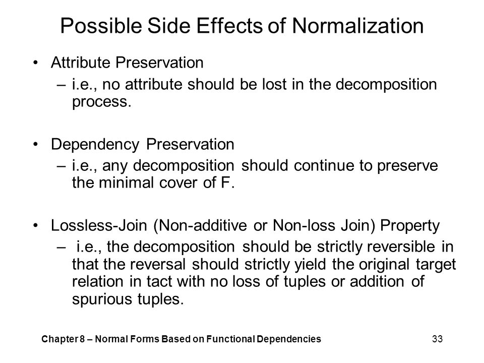 Possible Side Effects of Normalization