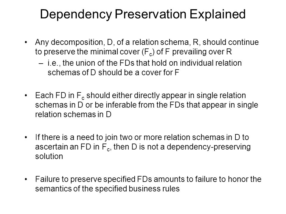Dependency Preservation Explained