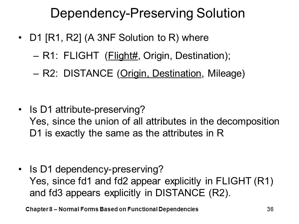 Dependency-Preserving Solution