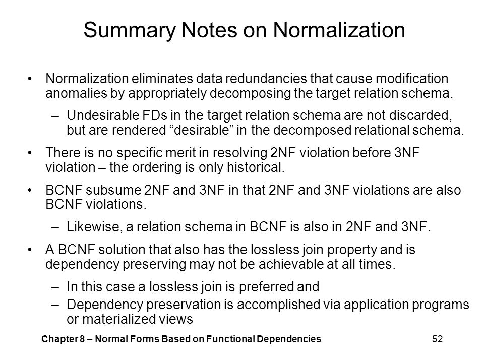 Summary Notes on Normalization