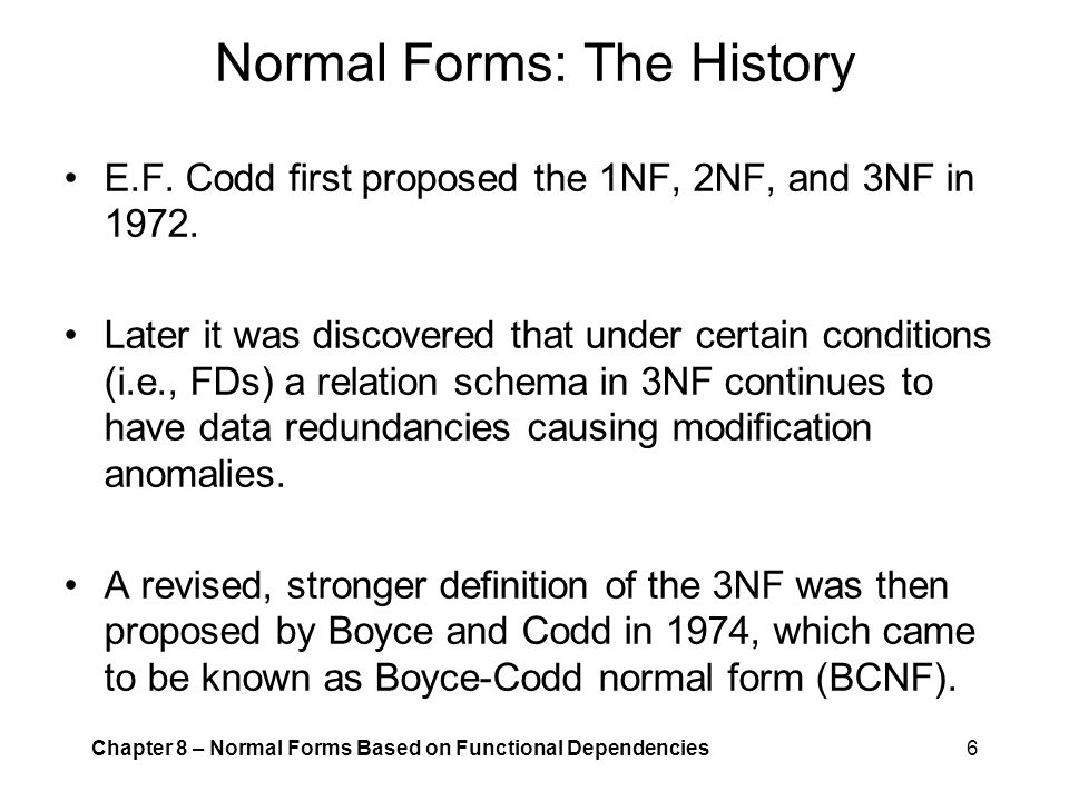 Normal Forms: The History