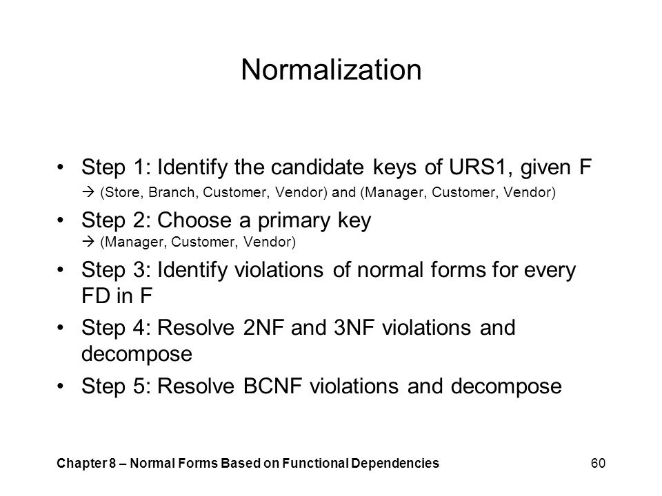 Normalization Step 1: Identify the candidate keys of URS1, given F