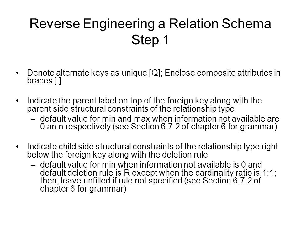 Reverse Engineering a Relation Schema Step 1