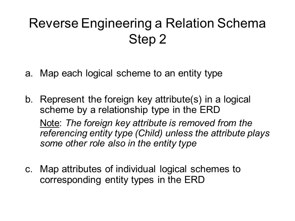 Reverse Engineering a Relation Schema Step 2