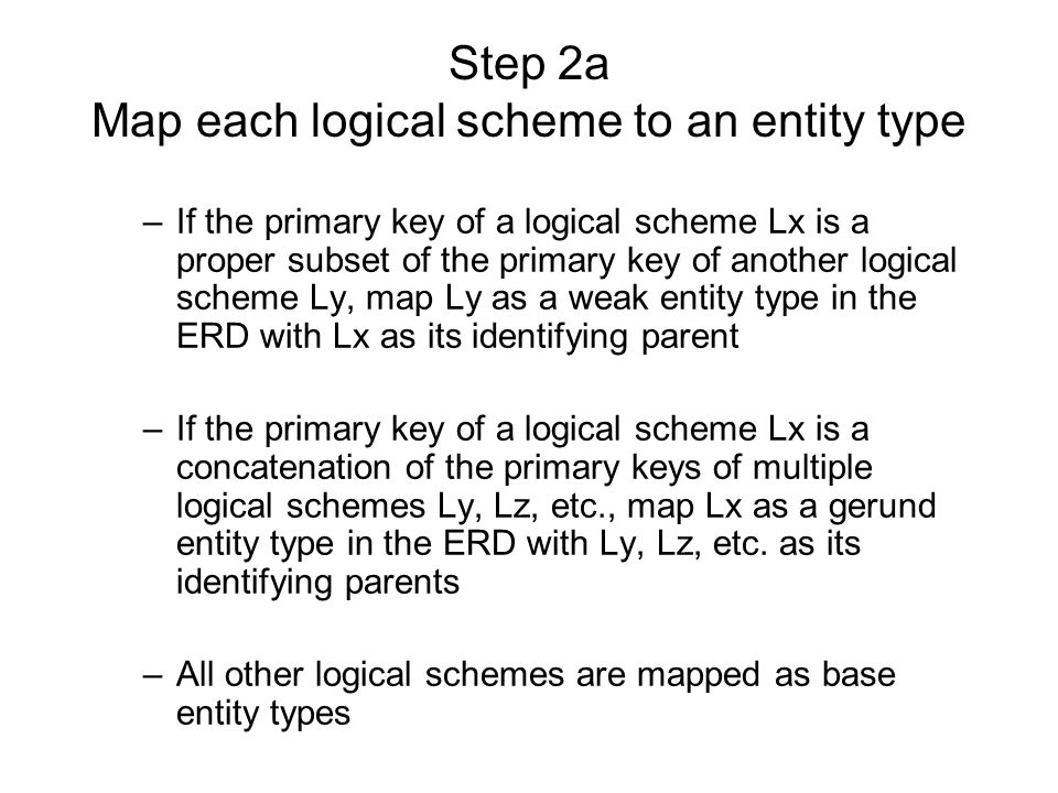 Step 2a Map each logical scheme to an entity type