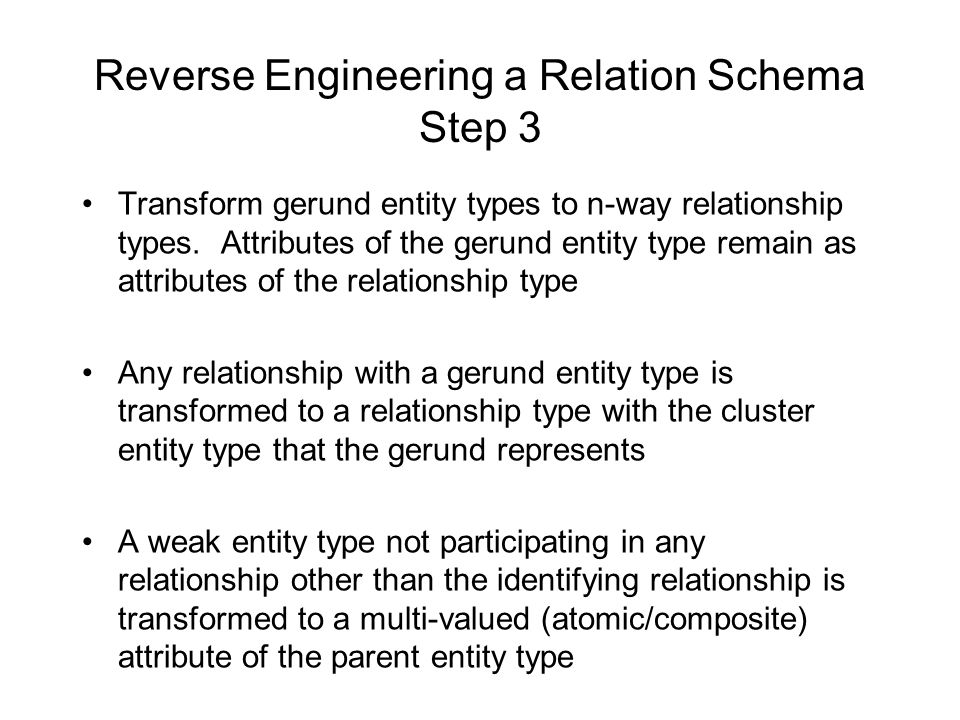Reverse Engineering a Relation Schema Step 3