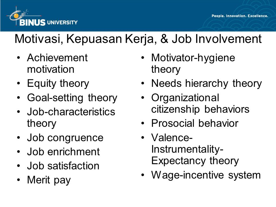 Motivasi, Kepuasan Kerja, & Job Involvement
