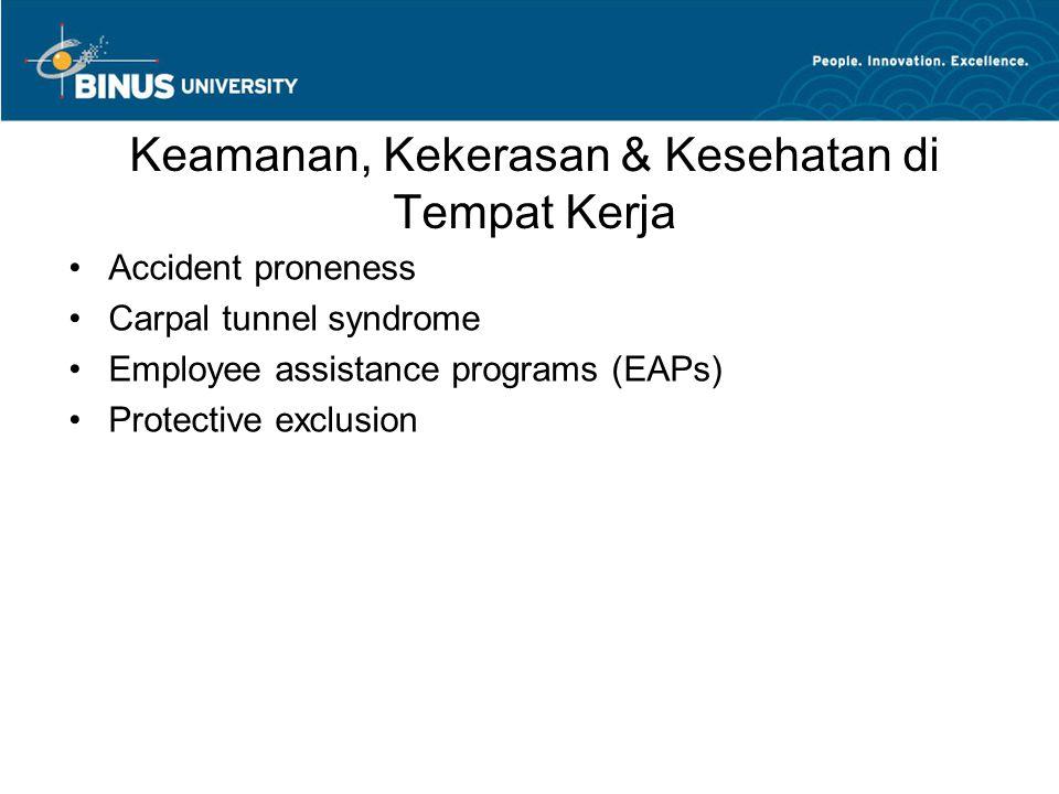 Keamanan, Kekerasan & Kesehatan di Tempat Kerja
