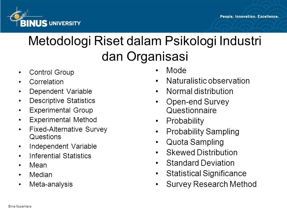 Metodologi Riset dalam Psikologi Industri dan Organisasi