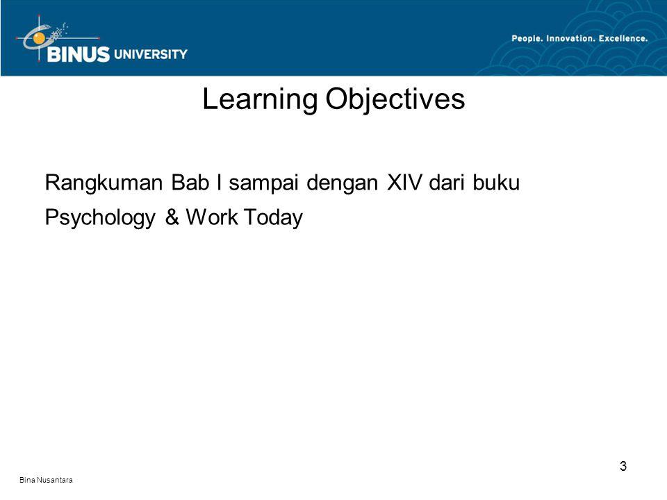 Learning Objectives Rangkuman Bab I sampai dengan XIV dari buku