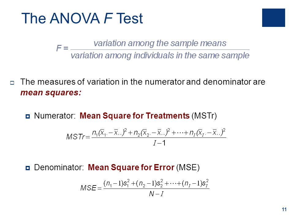 The ANOVA F Test The measures of variation in the numerator and denominator are mean squares: Numerator: Mean Square for Treatments (MSTr)