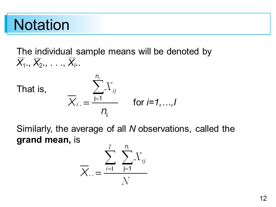 Notation The individual sample means will be denoted by X1, X2, . . ., XI. That is, for i=1,…,I.