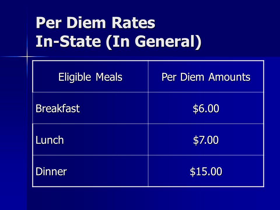 Per Diem Rates In-State (In General)
