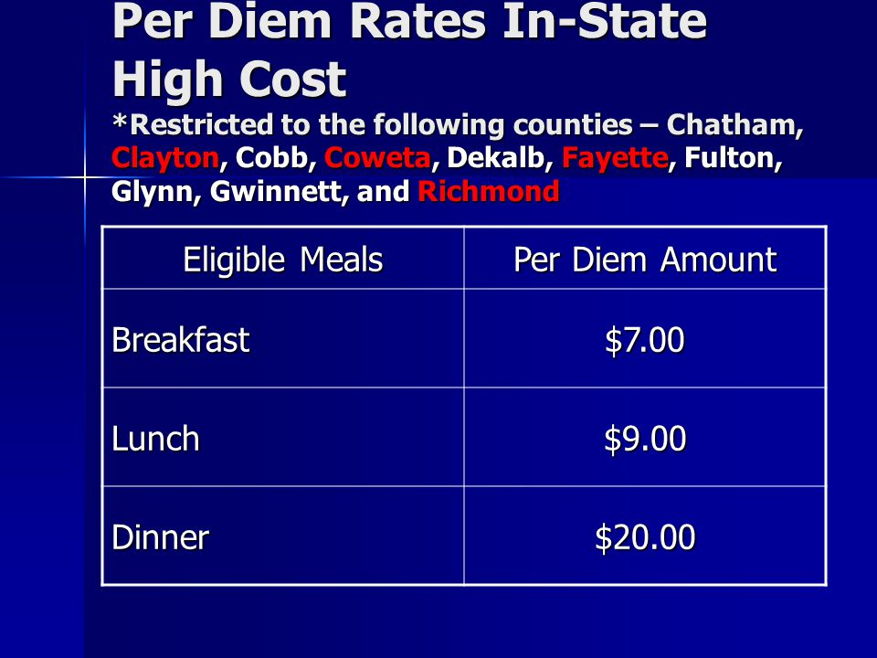 Per Diem Rates In-State High Cost
