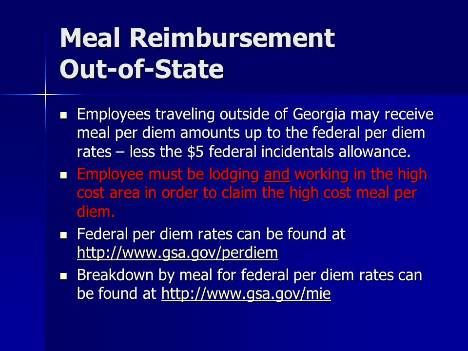 Meal Reimbursement Out-of-State