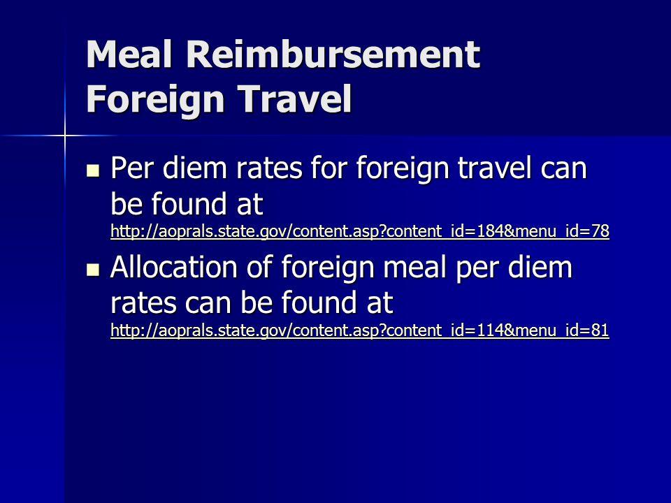 Meal Reimbursement Foreign Travel