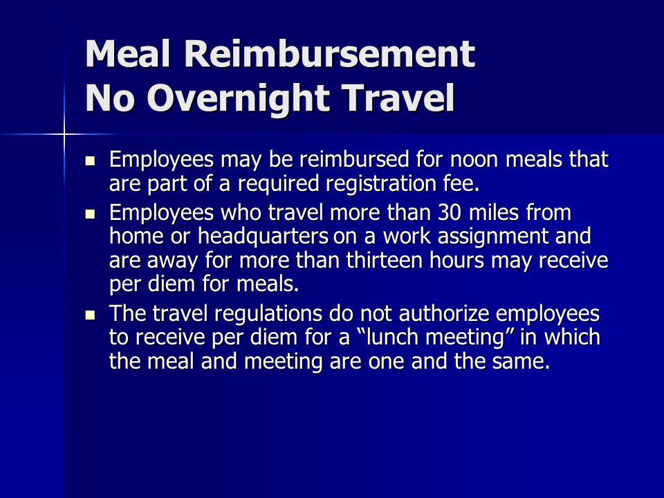 Meal Reimbursement No Overnight Travel