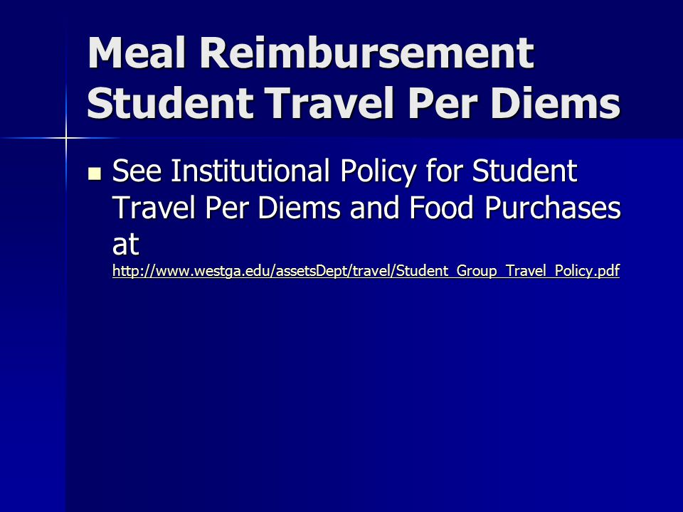 Meal Reimbursement Student Travel Per Diems