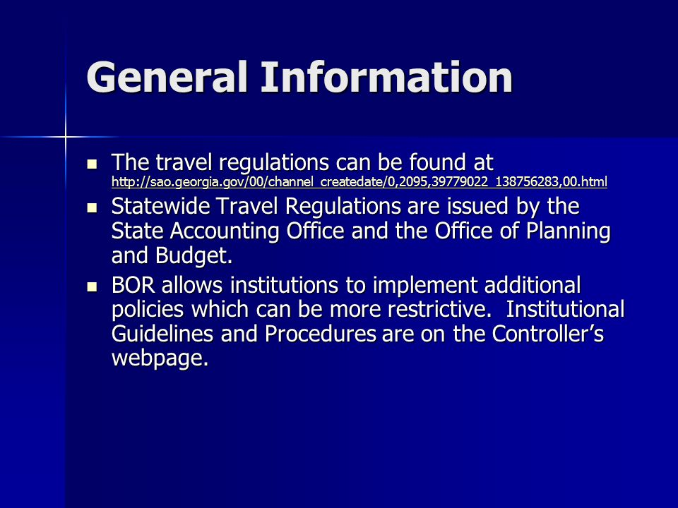 General Information The travel regulations can be found at http://sao.georgia.gov/00/channel_createdate/0,2095,39779022_138756283,00.html.