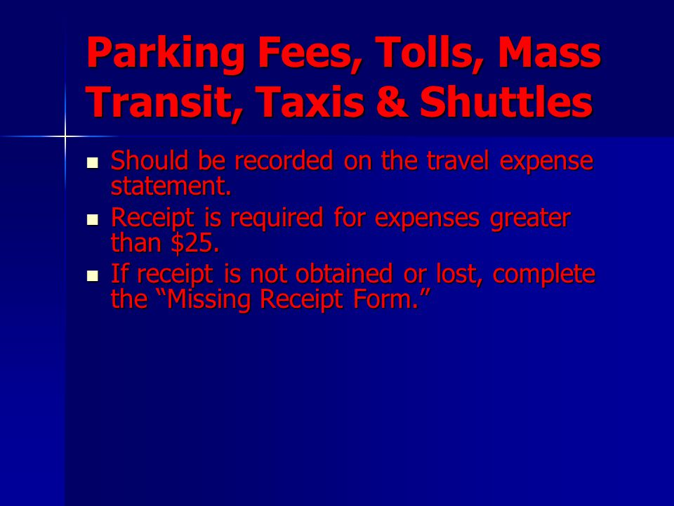 Parking Fees, Tolls, Mass Transit, Taxis & Shuttles