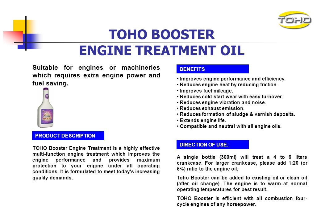TOHO BOOSTER ENGINE TREATMENT OIL