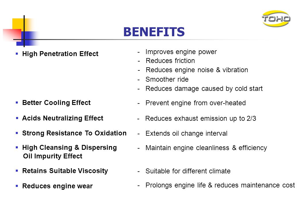 BENEFITS - Improves engine power High Penetration Effect