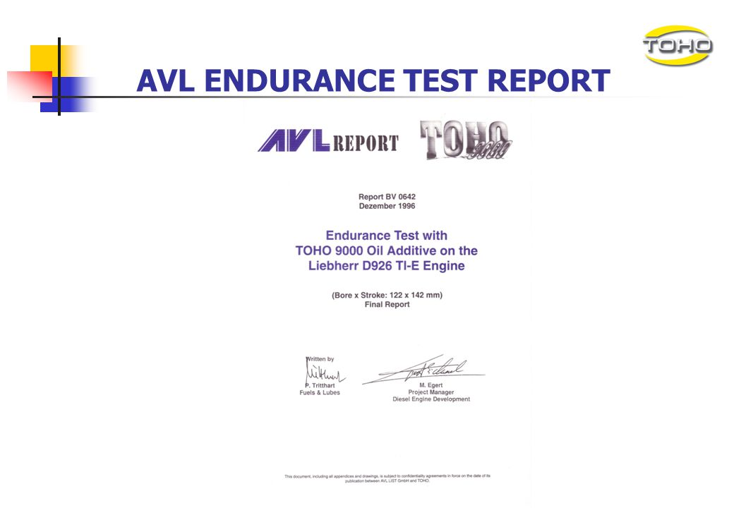 AVL ENDURANCE TEST REPORT